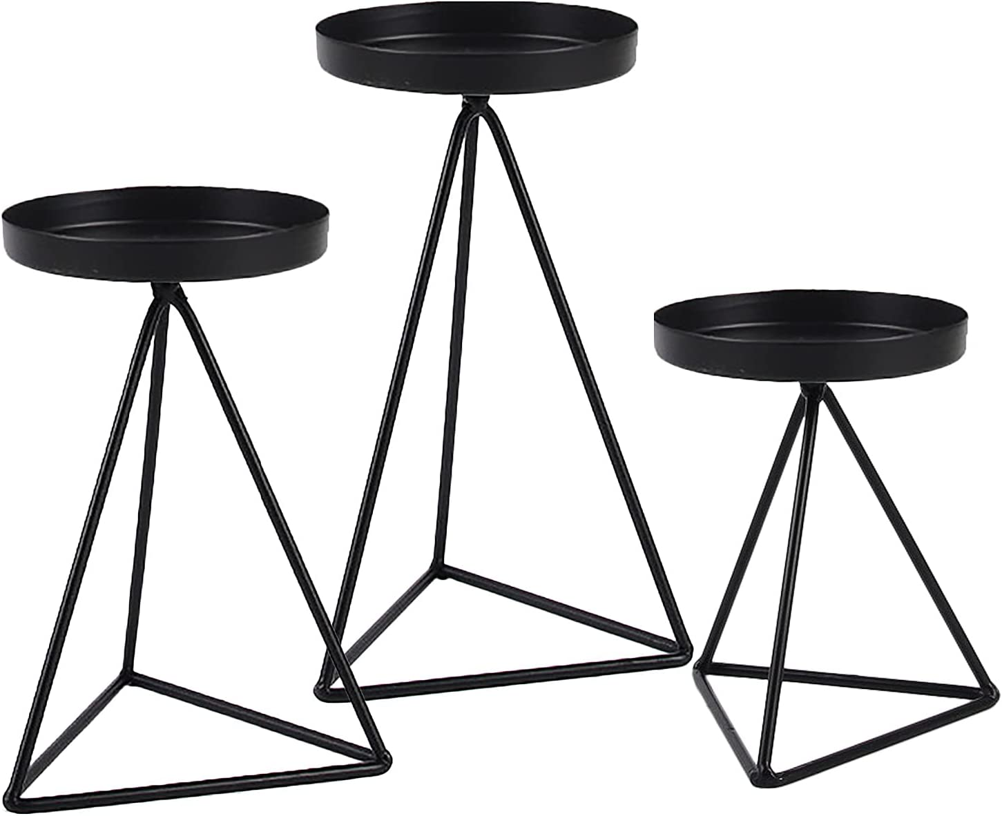 HYKITDAY Set of 3 Geometric Cheap super special price Metal Iron Cand Taper Credence Holder Candle