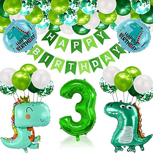 Gxhong 3 Año Fiesta de Cumpleaños Decoracion, Selva Decoraciones Cumpleaños de Fiesta, Cumpleaños Decoración Set, Fiesta de Dinosaurio Globo, para Niño Cumpleaños Baby Shower Decoración