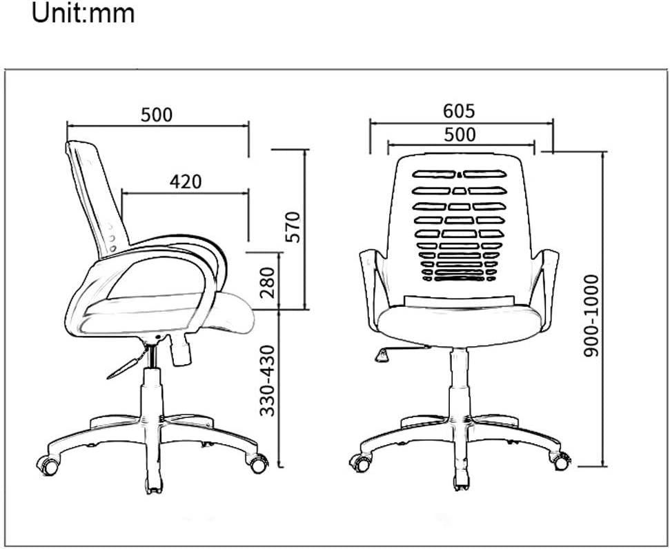 Chaise d'ordinateur de bureau réglable au milieu avec dossier pivotant et pivotant for femmes hommes adultes (Color : Black) Green