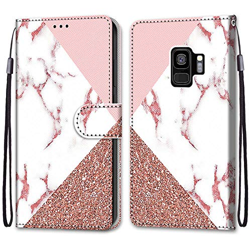 Nadoli Handyhülle Leder für Samsung Galaxy S9 Plus,Bunt Bemalt Rosa Marmor Trageschlaufe Kartenfach Magnet Ständer Schutzhülle Brieftasche Ledertasche Tasche Etui
