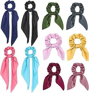 Senignol 10Pcs Hair Scrunchies Silk Satin Adjustable Bunny Ear Hair Ties Long Chiffon Bow Scrunchie Scarf Ponytail Holder hair Accessories for Women Girls