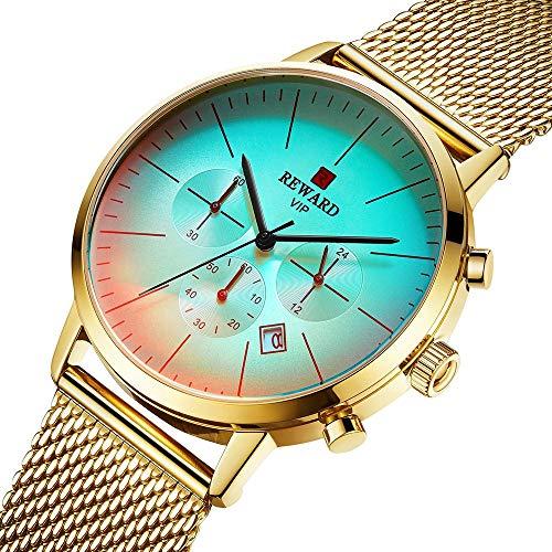 GuoYQ Reloj de Cuarzo para Hombre, Acero Inoxidable de Reloj Resistente al Agua Fecha Automática Cronógrafo Minimalista Moda Reloj de Regalo de Diseño con Simple