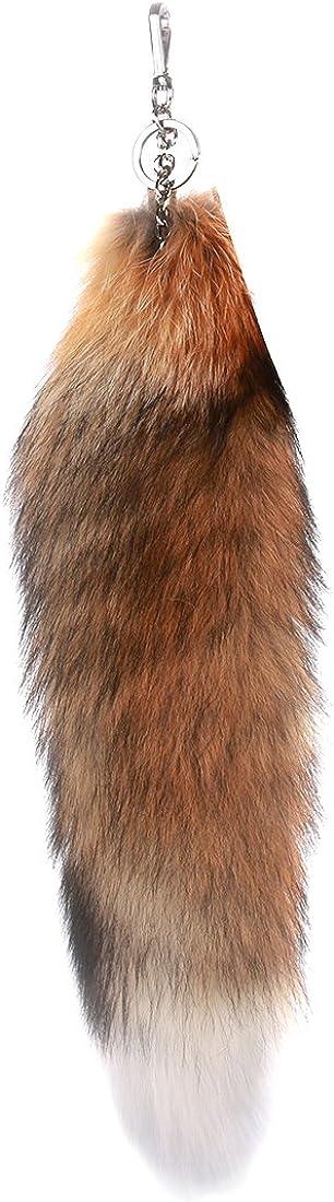 URSFUR Sun Fox Tail Fur Keychain Tassel Bag Charm Pendant Key Chain Ring