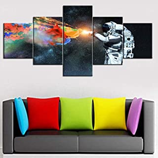 Fankiko Pictures for Living Room Astronaut Spaceman Paintings 5 Piece Canvas Wall Art Decor Artwork Modern Home Decoration Giclee Wooden Framed Stretched Ready to Hang Posters and Prints(50''Wx24''H)