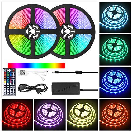 LED Strip Light RGB 10M, Wasserfestes LED Streifen RGB Dimmbar Leuchten 300 SMD 5050 Lichtstreifen Saiten Leuchten Lichtband Flexibel Seil Licht mit IR Fernbedienung & 12V Stromversorgung