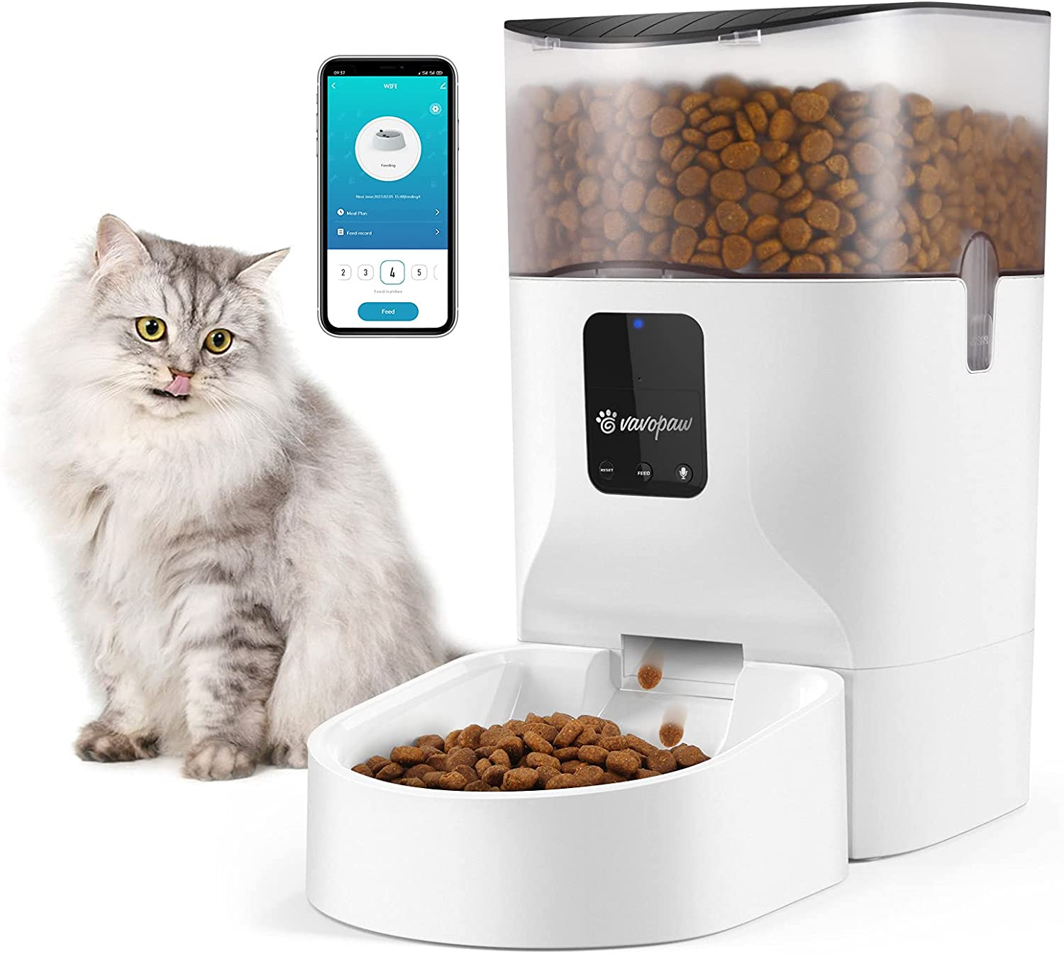 VavoPaw 7L Automatic Cat Feeder Smart Enabled Food Max 69% OFF Max 47% OFF Dispens WiFi