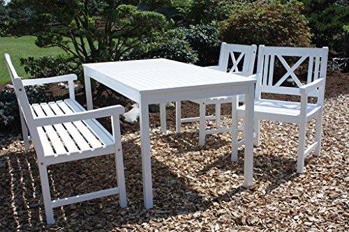 Gravidus 4-teilige Tischgruppe mit Bank und Sesseln, Weiß