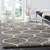 Safavieh Hudson Shag Collection SGH280B Moroccan Ogee 2-inch Thick Area Rug, 8' x 10', Grey/Ivory