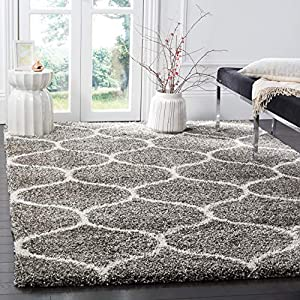 SAFAVIEH Hudson Shag Collection SGH280B Moroccan Ogee Trellis Non-Shedding Living Room Bedroom Dining Room Entryway Plush 2-inch Thick Area Rug, 6′ x 9′, Grey / Ivory