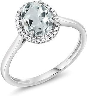 10K White Gold Sky Blue Aquamarine & Diamond Halo Women's Engagement Ring 1.10 cttw (Available 5,6,7,8,9)