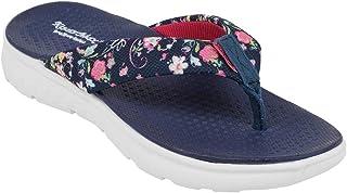 KazarMax Women Navy Blue & Pink Floral Print Thong Flip-Flop