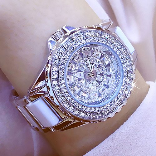 WZFCSAE Fashion Ladies Orologi da Polso Luxury Brand Crystal Dress Donna Guarda Shinning Diamond Rhinestone Ceramic Orologio da Polso al Quarzo, Argento
