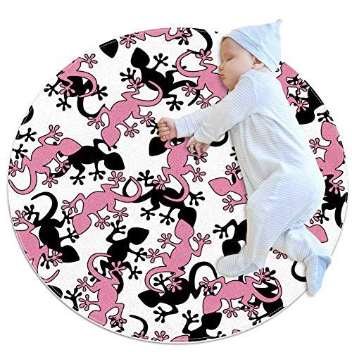 HDFGD rosa Salamander kreisförmiger Teppich, weich und bequem, Bodenmatte mit rutschfestem Futter, geeignet für Zuhause und Schlafzimmer, 80 x 80 cm
