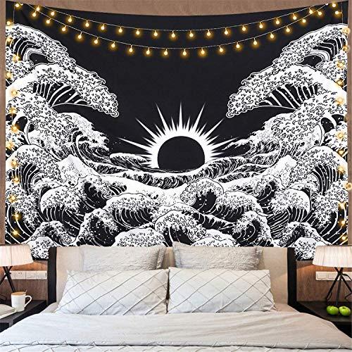 Dremisland Tapiz de pared con diseño de mandala con una gran ola de Canagawa para colgar en la pared con puesta de sol, color negro y blanco