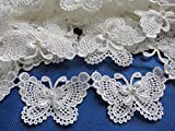 YYCRAFT Butterfly 3' Lace Edge Trim Pearl Wedding Applique DIY Sewing-White(5 Yards)