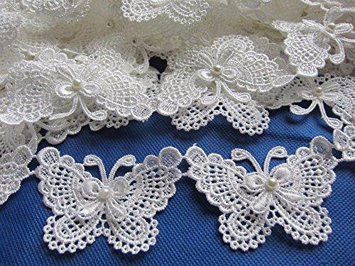 "YYCRAFT: Paquete de cinta de encaje de lazo para decoración de boda, manualidades, costura, adornos vintage, manualidades, boda, novia, lazo, Blanco, Butterfly 3\"""