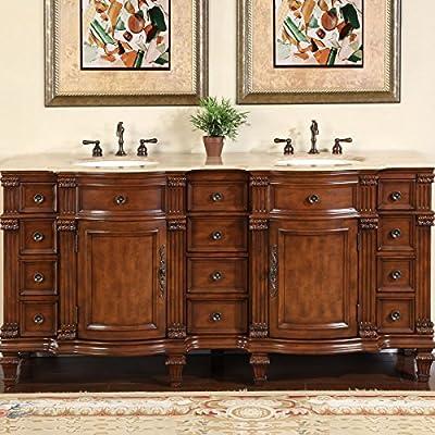 "Silkroad Exclusive Travertine Stone Top Double Sink Bathroom Vanity with Furniture Bath Cabinet, 72"", Medium Wood"