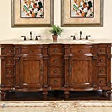 Silkroad Exclusive Travertine Stone Top Double Sink Bathroom Vanity with Furniture Bath Cabinet, 72', Medium Wood