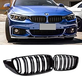 Soyeah ABS Front Replacement Kidney Grille Grill Compatible for BMW 4 Series F32 F33 F36 F80 F82 F83 2013 2019 Glossy Black Double Line