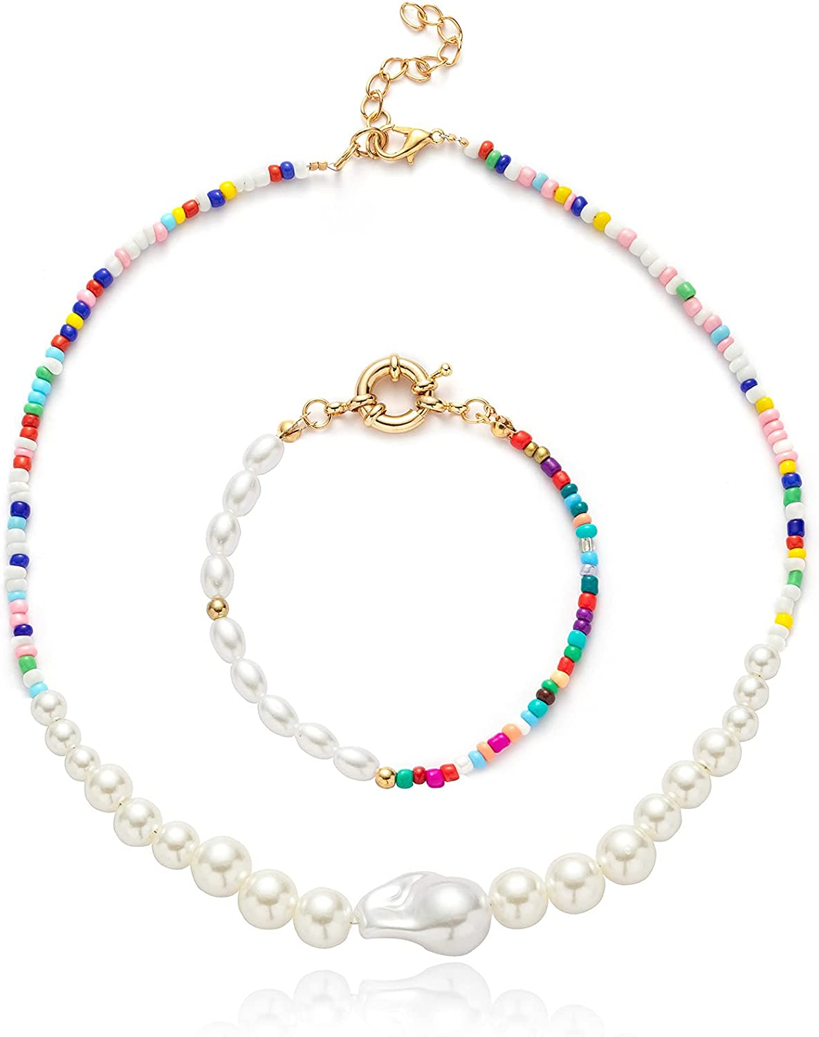 Pearl Beaded Necklace Colorful Necklace Bohemian Beaded Necklaces for Women Y2K Necklace Hand Made Pearl Choker Necklace for Women Girls 4PCS EXGOX