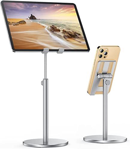"""lowest LISEN sale Tablet Stand, Upgraded Stable iPad Stand Holder All Aluminum Alloy, Angle Height Adjustable iPad Holder for Desk Case Friendly for 4.7""""-12.9"""" high quality Phones/iPad/Tablets/Switchs/Kindles/E-Reader-Silver outlet sale"""