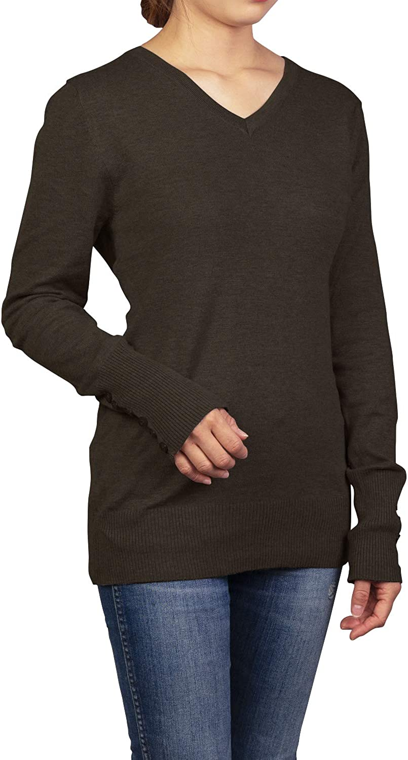 Malibu Days Womens Long Sleeve V Neck Fitted Sweater Casual Solid Knit Top with Sleeve Button Detail