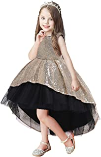 Sequins Trailing Flower Girl Dresses - Girls Back Bow Lace Short Sleeves Princess Gown