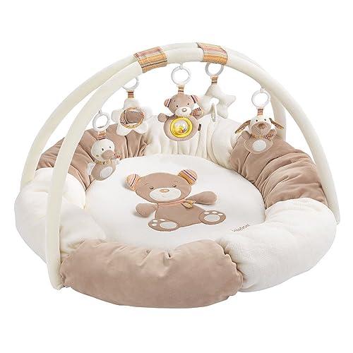 Fehn 160963 3-D-Activity-Nest Rainbow – Besonders weicher Spielbogen mit 5 abnehmbaren Spielzeugen für Babys Spiel & Spaß von Geburt an – Maße: Ø85cm