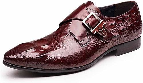 GLSHI Hommes Chaussures Britannique Pointu Boucle Oxford Crocodile Motif Chaussures Faible Cut Chaussures Affaires Décontracté (Couleur   Marron, Taille   44)