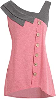 kaifongfu Lady Blouse, Women Fashion Plus Size Skew Neck Asymmetric Tank Top Sleeveless Button T-Shirt