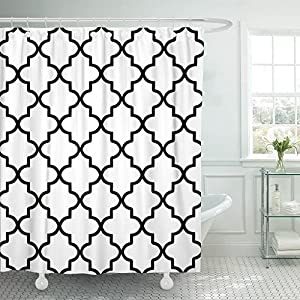 Accrocn Classic Modern Vintage Chic White And Black Moroccan Quatrefoil Outdoor Extra Long 72x84 Inches Waterproof Shower Curtain Curtains Fabric Decorative Bathroom Odorless Eco Friendly