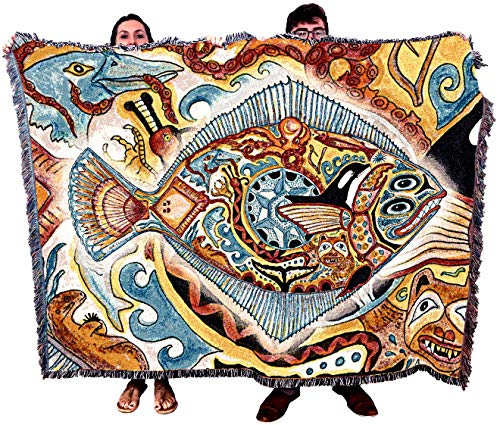 Pure Country Weavers Halibut - Native American Inspired Pacific Northwest Totem by Sue Coccia - Blanket Throw Woven from Cotton - Made in The USA (72x54)