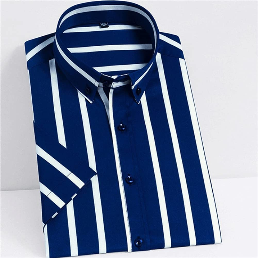 HLMSKD Men's Shirts Summer Short Sleeve Silky Fabric Striped Shirts Pocketless Wrinkle Casual Standard-fit Button-Down Shirt (Color : Blue, Size : Asian XL Label 41)