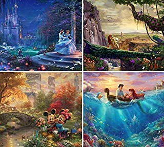 Ceaco Thomas Kinkade The Disney Collection 4 in 1 Multipack Cinderella, The Lion King,..