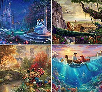 Ceaco  4  500 Piece Thomas Kinkade - Disney Dreams 4 in 1 Multipack Jigsaw Puzzle - Cinderella The Lion King Mickey and Minnie Mouse and The Little Mermaid - Ages Kids and Adults