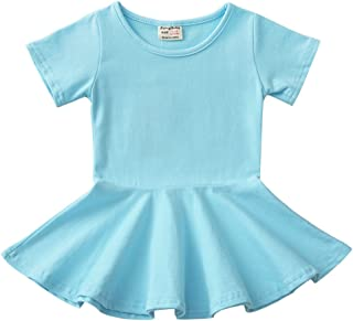 Infant Toddler Baby Girls Dress Cozy Ruffles Long Sleeves Cotton