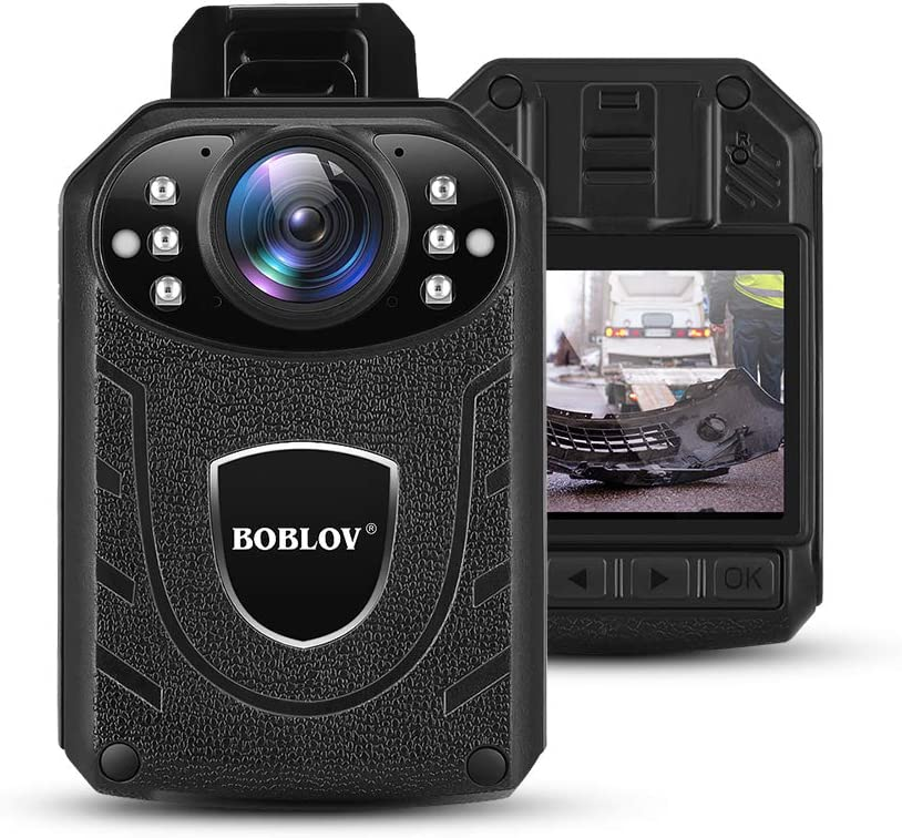 BOBLOV KJ21 Body Camera, 1296P Body Wearable Camera Support Memory Expand Max 128G 8-10Hours Recording Police Body Camera Lightweight and Portable Easy to Operate Clear NightVision (Card not Included)