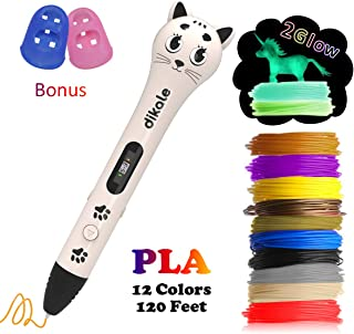 3D Pen with PLA Filament Refills - Dikale 05A【Kitten Shaped Design】3D Drawing Printing Printer Pen Bonus 12 Colors 120 Feet PLA 250 Stencil eBook for Kids Adults Arts Crafts Model DIY, Non-Clogging