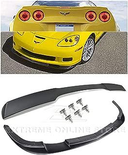 For 2005-2013 Chevrolet Corvette C6 Z06 Grand Sport   EOS ZR1 Style ABS Plastic PRIMER BLACK Front Bumper Lower Lip Splitter & Painted Matte Black Rear Wing Spoiler