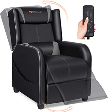 POWERSTONE Gaming Chair Recliner - Massage Gaming Chair Ergonomic Sofa with Footrest and Headrest and Side Pouch - Living Roo