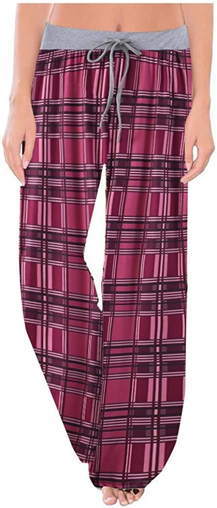 Sweatpants for Women Plus Size,Lounge Pants Floral Lightweight Comfy Casual Stretch Palazzo Drawstring Bottoms Pants