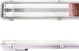POPP® Pantalla Estanca de un tubo o dos Tubos de LED,9,22,36,44 Watios IP65 impermeable,Prueba de polvo,PC/PC para parking interior y exterior. (18 watios)