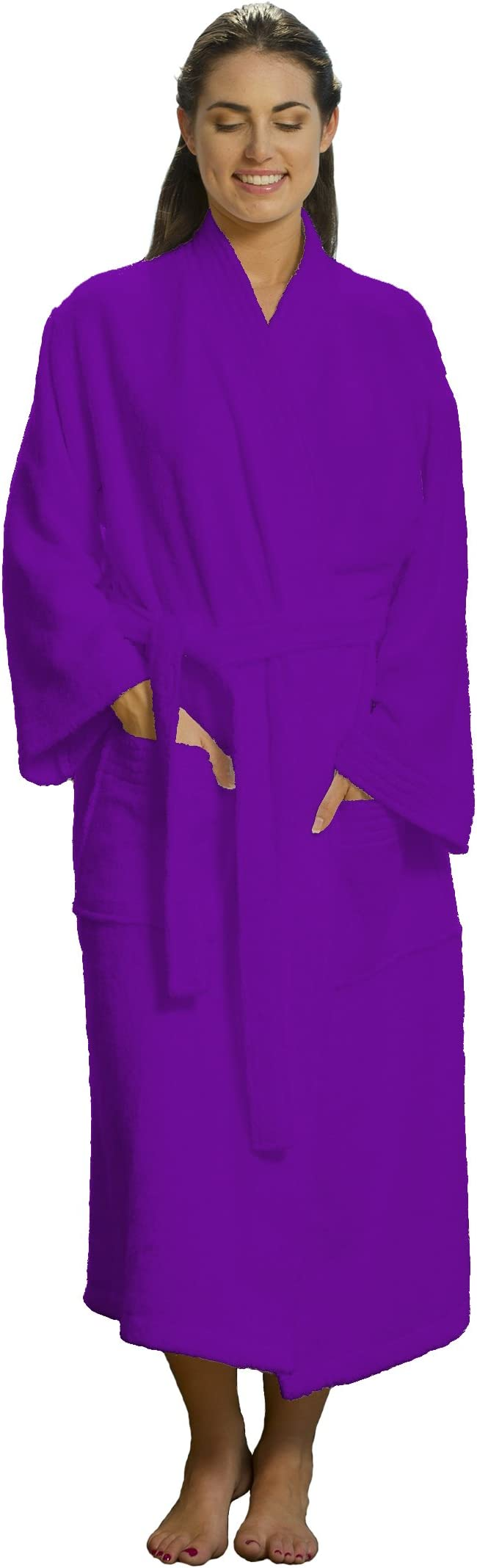 Lilac Housecoat Long Terry Robe Purple Dressing Gown Thick Bathrobe Cotton Terry Velour Bathrobe Lavender Terry Bathrobe Wrap Bathrobe