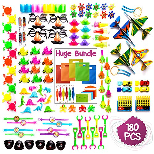 Imagine's 180PCS Carnival Prizes & Party Bags BUNDLE: Party Favors Assortment Plus Punch Balloons