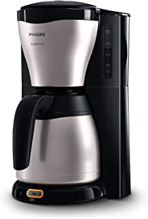 Philips HD7546 HD7546/20-Cafetera de Goteo café Gaia, Jarra térmica con Capacidad para 10-15 Tazas, 1000 W, 14 Cups, acero inoxidable, Negro/Plata