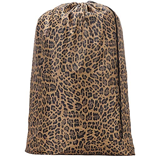 HOMEST Leopard Brown Travel Laundry Bag, 28 x 40 Inches Rip-Stop Nylon Heavy Duty Dirty Clothes Bag with Drawstring, Laundry Basket or Hamper Liner, Machine Washable, Anti-Odor