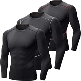MEETEU Men's Thermal Shirt, Quick Dry Baselayer Sport Compression Long Sleeve Tops T-Shirts Pack of 3