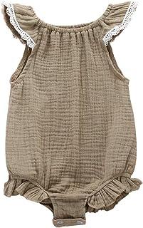 الوليد الطفل الفتيات رومبير الصيف أكمام القطن الرضع بذلة الأزياء extiecey الملابس (Color : Gray, Kid Size : 18M)