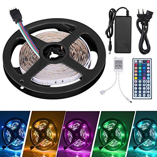 LED Striscia 5M RGB 5050,SUNNEST led striscia 150 led per Natale,Feste, Decorazioni.(Non Impermeabile)