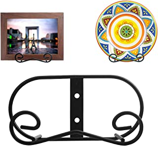 (2 piece) Black Metal wall Mount Display Easel Horizontal Plate Rack Plate Hanger Vertical Plate Stand Holders Picture frame Stand for Wall-Medium